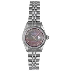 Rolex Ladies White Gold Stainless Steel Datejust Roman Dial Automatic Wristwatch