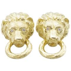 1960s Diamond Lion Door Knocker Earrings