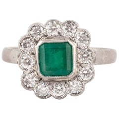 English Emerald and Diamond 18k Gold Cluster Ring, Early 20th Century