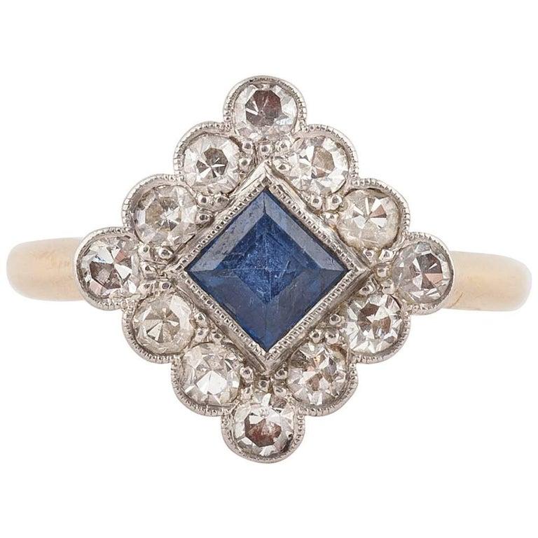 English Art Deco Sapphire and Diamond Ring, 1920s