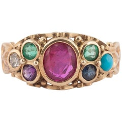"""English Gold and Gemstone """"Dearest"""" Ring, 19th Century"""