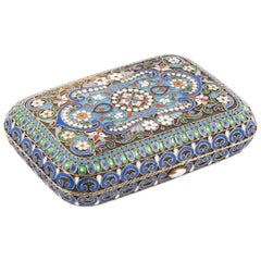 Russian Silver Enamelled Coin Purse by Ovchinnikov, Moscow, 1890s