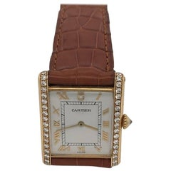 Cartier Yellow Gold Factory Diamond Tank Manual Wristwatch