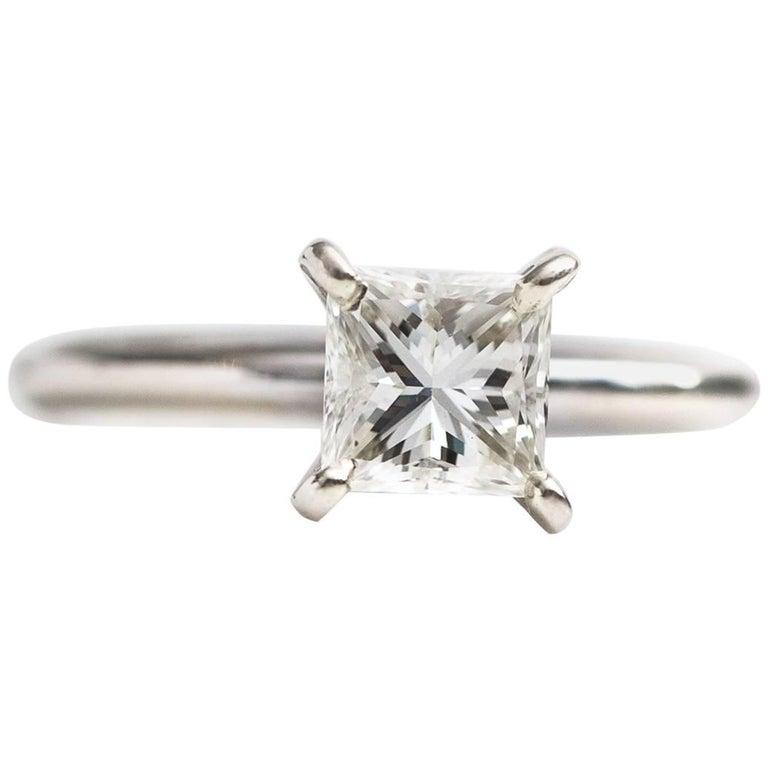 1 Carat Princess Cut Diamond and 14 Karat White Gold Solitaire Engagement Ring