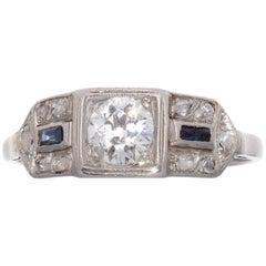 Art Deco Diamond Sapphire Platinum Ring