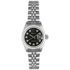 Rolex Ladies White Gold Stainless Steel Diamond Datejust Automatic Wristwatch