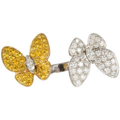 Van Cleef Arpels 18k Gold Diamond Sapphire Two Butterfly Between the Finger Ring