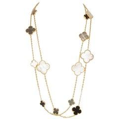 Van Cleef & Arpels 18 Karat Yellow Gold Magic Alhambra 16 Motif Necklace