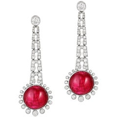 Ruby Diamond Platinum Earrings