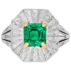 Untreated Colombian Emerald and Diamond Ring