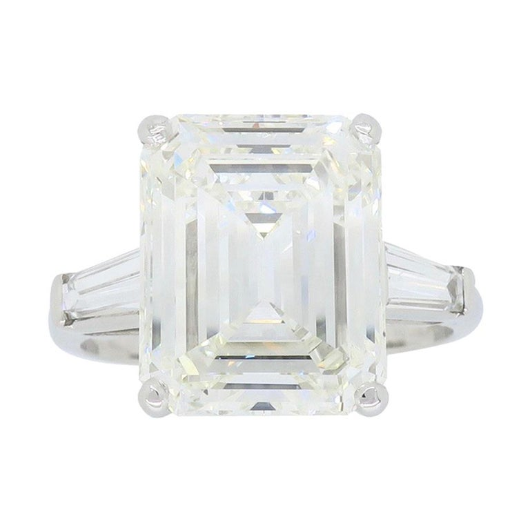 6.81 Carat Emerald Cut Diamond Ring For Sale