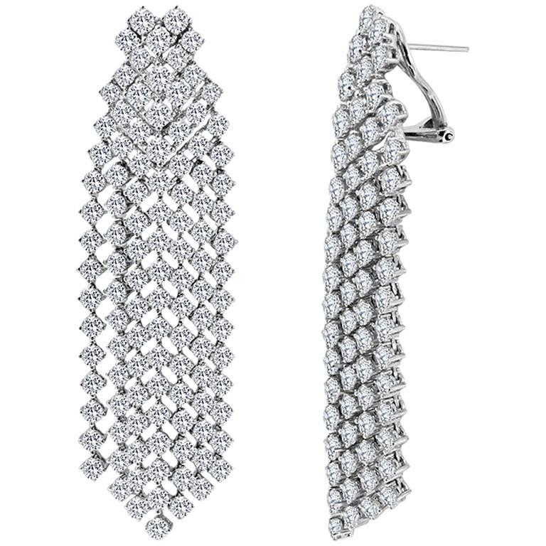 18 Karat White Gold Diamond Chandelier Earrings