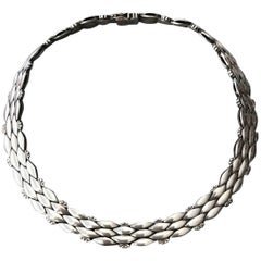 Georg Jensen Sterling Silver Art Deco Necklace No. 86 by Harald Nielsen