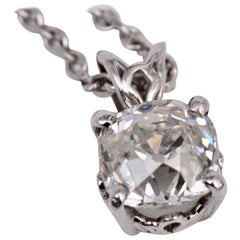 Old Mine Cut Diamond Pendant Necklace 2 Carat