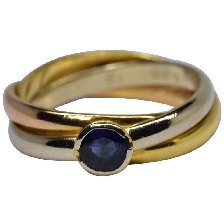 Cartier Sapphire Tri Color Ring