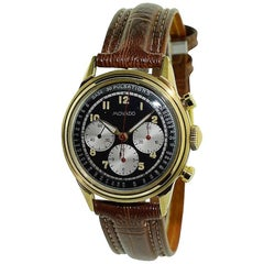 Movado Yellow Gold Art Deco Triple Register Chronograph Manual Watch