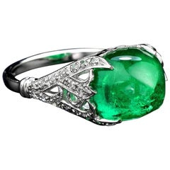 Sugarloaf Columbian Emerald 7.58 Carat with Diamond 18 Karat Gold Cocktail Ring