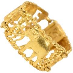 Cartier-Style 23 Carat Yellow Gold Cuff Bracelet of Elephants