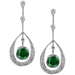 Zambian Emerald 4.28 Carat with Diamond White Gold Earrings
