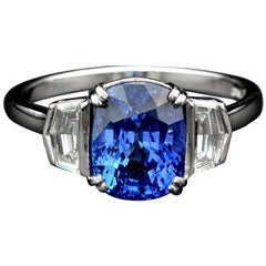 Certified 3.158 Carat Ceylon Sapphire Diamond Platinum Ring