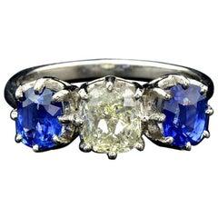Fancy Diamond 1.12 Carat and Ceylon Sapphire Platinum Ring
