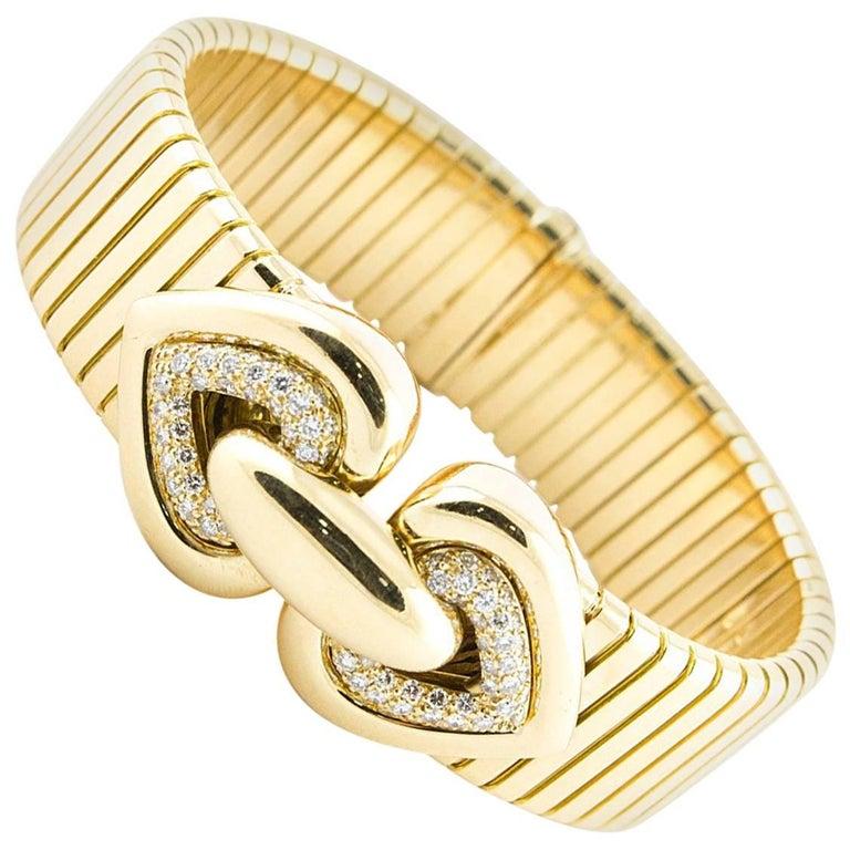 Bulgari Yellow Gold Bracelet with Diamonds Hearts