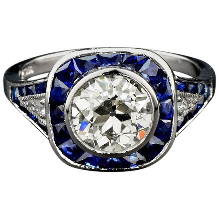 Certified 1.61 Carat Diamond Sapphire Platinum Engagement Ring