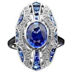 Art Deco Ceylon Sapphire Diamond Cocktail Ring