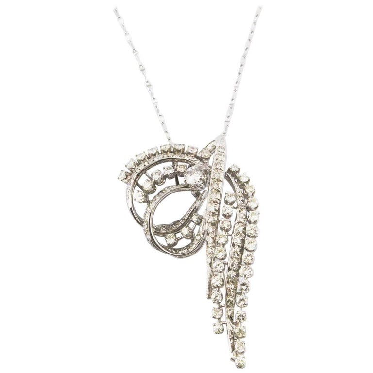 Sparkling Pendant Necklace/Brooch with Carat 2.50 Diamonds