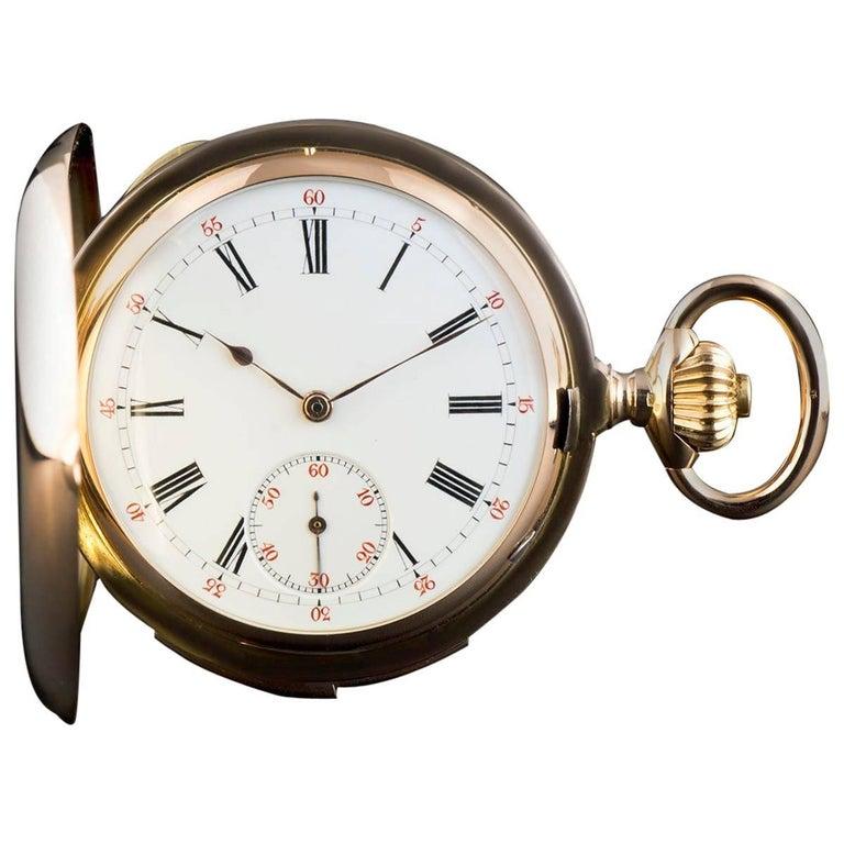 Rose Gold Minute Repeater Full Hunter Enamel Dial Manual Wind Pocket Watch