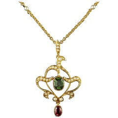 Antique Victorian 15 Carat Gold Suffragette Pearl Pendant Necklace