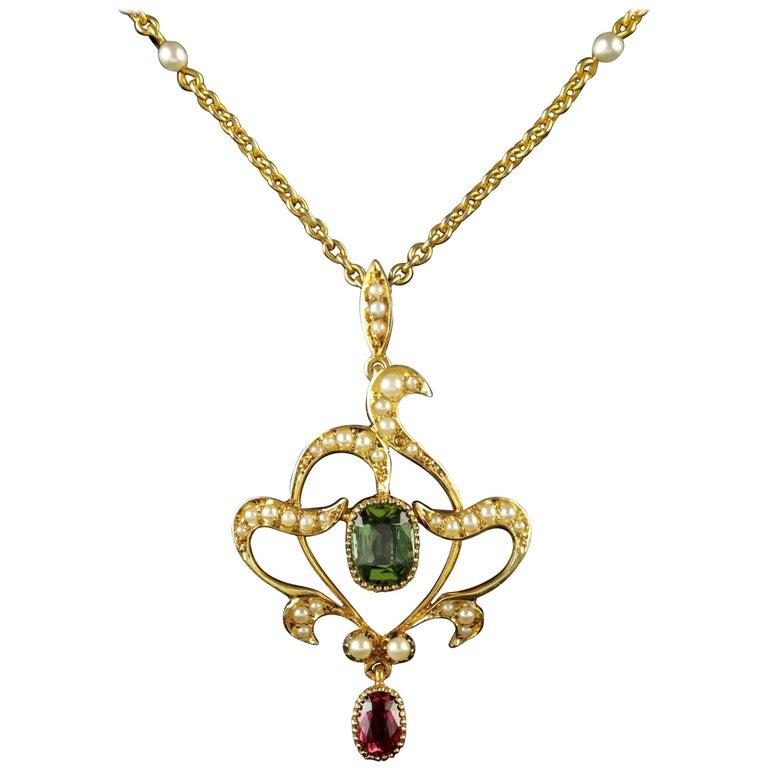 Antique Victorian 15 Carat Gold Suffragette Pearl Pendant Necklace
