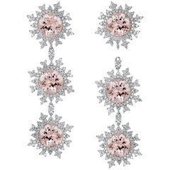 Nadine Aysoy 18 Karat White Gold and Pale Morganite Diamond Long Earrings