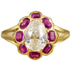 Antique Victorian Ruby and Old Pear Cut Diamond Cluster Ring in 18 Carat Gold