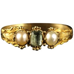 Antique Georgian Tourmaline and Pearl Trilogy Ring, circa 18th Century