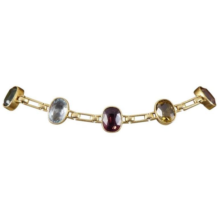 Antique Edwardian Tourmaline, Aquamarine, Garnet and Citrine 15ct Gold Bracelet  For Sale