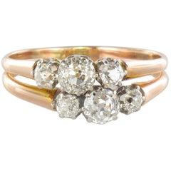 19th Century Platinum 18 Karats Rose Gold Diamond Ring
