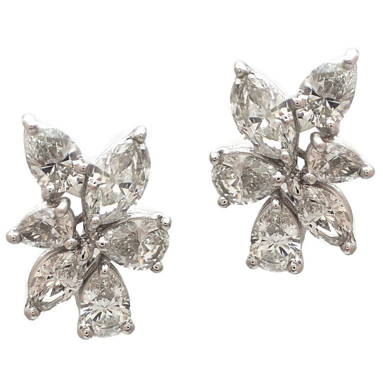 Marquise and Pear Shape Diamond Cluster Earrings in Platinum
