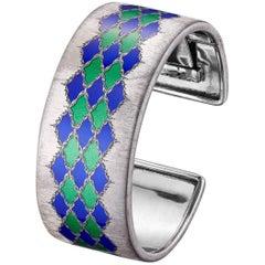 Gianmaria Buccellati Bangle Silver Green and Blue Lozenge-Shaped Enamel Motifs