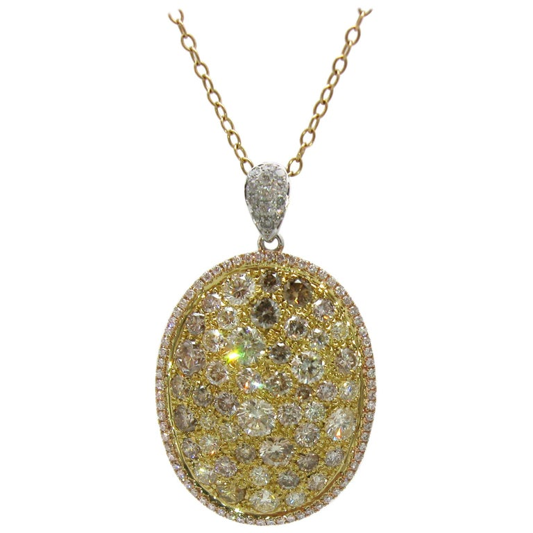 Multicolored Diamond Necklace in 18 Karat Rose