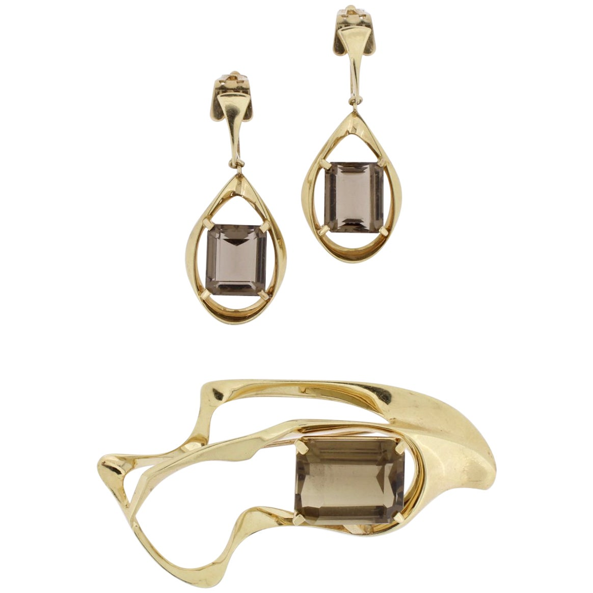 Ronald H Pearson Modernist 14 Karat Forged Gold, Topaz Earrings and Brooch Set