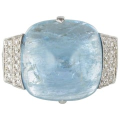 New 11 Carat Sugar Loaf Aquamarine Diamond Art Deco Ring