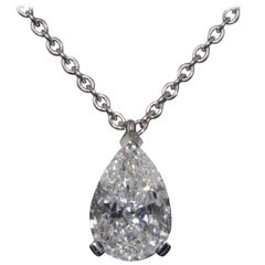 Certified Diamond 1.10 Carat Shaped Pear Three Claws White Gold Pendant