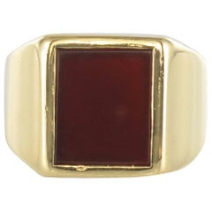 French 1900s Sardoine Yellow Gold Men's Signet Ring