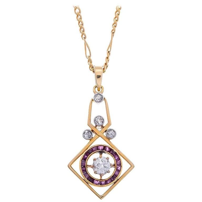 Art Deco 18 Carat Gold 0.30 Carat Diamond and Ruby Pendant