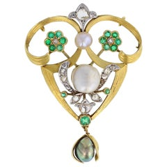 Antique Rose-Cut Diamond Pearl Demantoid Garnet Gold Brooch