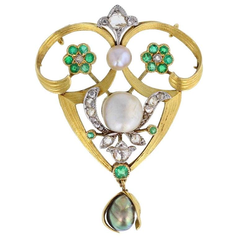 Antique Rose-Cut Diamond Pearl Demantoid Garnet Gold Brooch