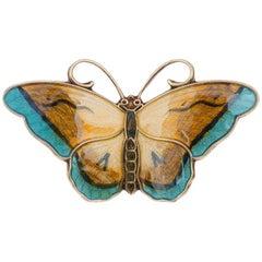 Early 20th Century Norwegian Hroar Prydz Sterling Silver Enamel Butterfly Brooch