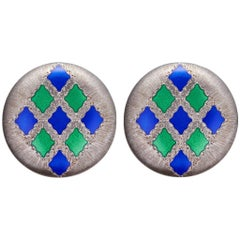 Gianmaria Buccellati Earrings Silver Gold with Blue and Green Enamel Motifs