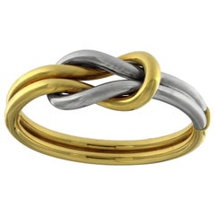 Double Knot Set in White and Yellow 18 Karat Gold
